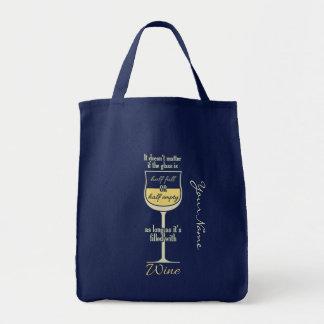 Bolsa Tote Sacolas do costume do vidro de vinho branco