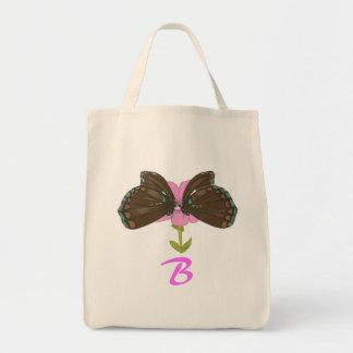 Bolsa Tote Sacolas Monogrammed das borboletas de Brown