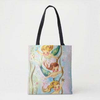 Bolsa Tote Sereias pequenas que nadam - sacola bonita