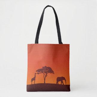 Bolsa Tote Silhueta africana do safari toda sobre - imprima a