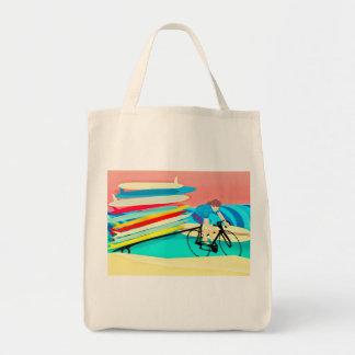 Bolsa Tote Surfista em prancha do carregando da bicicleta