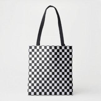 Bolsa Tote Tabuleiro de damas preto e branco