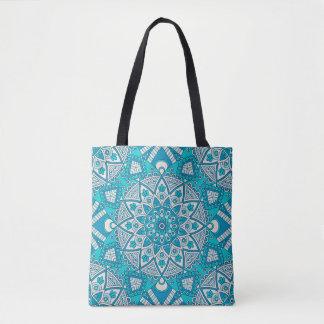 Bolsa Tote Teste padrão azul do azulejo da mandala