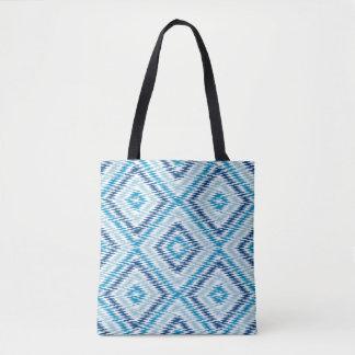 Bolsa Tote Teste padrão azul do diamante