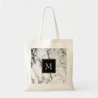 Bolsa Tote Teste padrão de mármore Monogrammed das cinzas e