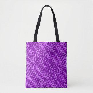 Bolsa Tote Teste padrão de ziguezague roxo brilhante