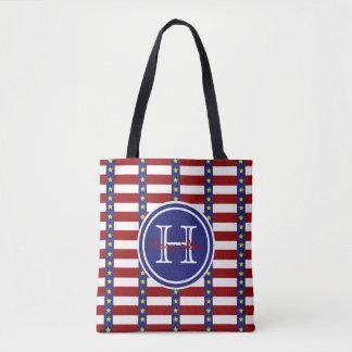 Bolsa Tote Todo o monograma americano da bandeira dos Estados