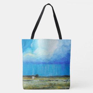 Bolsa Tote Uma tempestade perfeita, pintura de paisagem da
