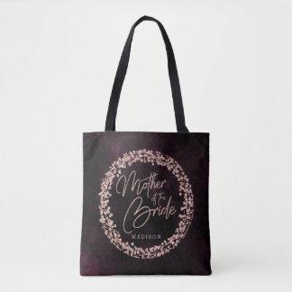 Bolsa Tote Vinho de Borgonha & mãe cor-de-rosa do ouro da