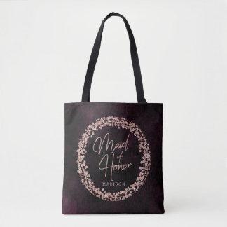 Bolsa Tote Vinho de Borgonha & monograma cor-de-rosa da
