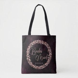Bolsa Tote Vinho de Borgonha & monograma cor-de-rosa da dama