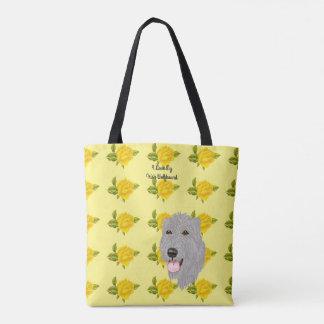 Bolsa Tote Wolfhound irlandês e rosas amarelos [MED]