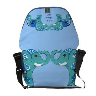 Bolsas Mensageiro Elefante do Henna (azul/luz - azul)