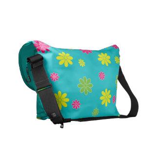 Bolsas Mensageiro Flor de Multicolors no campo azul
