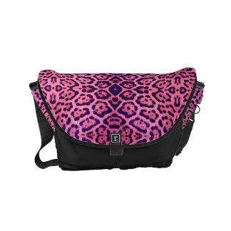 Bolsas Mensageiro Pele cor-de-rosa e roxa de Jaguar