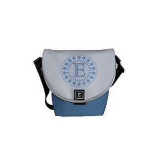 Bolsas Mensageiro Saco azul do Mini-Mensageiro do monograma