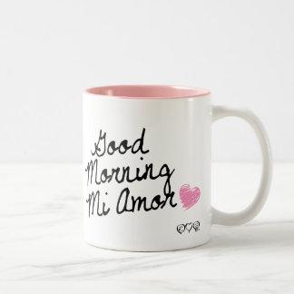 Bom dia MI Amor! Com coração cor-de-rosa Canecas