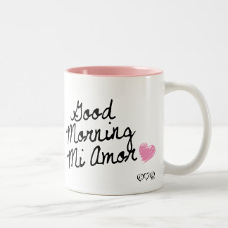 Bom dia MI Amor! Com coração cor-de-rosa Caneca Dois Tons