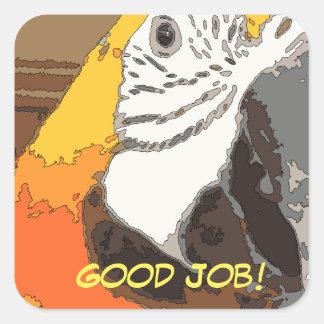 Bom trabalho! Etiqueta do papagaio para