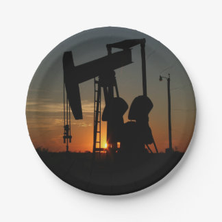 Bomba de óleo Jack em placas do partido do por do Prato De Papel