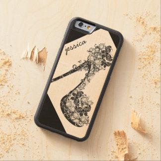 Bomba floral moderna chique personalizada do salto capa de carvalho bumper para iPhone 6