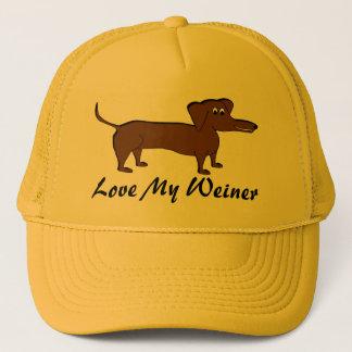 Boné Ame meus presentes e roupa do cão de Weiner