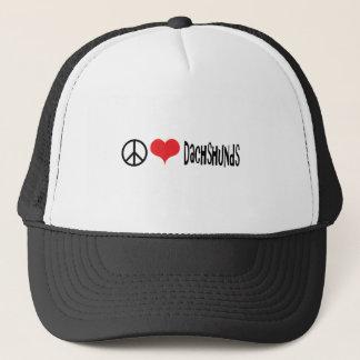 Boné amor e dachshunds da paz
