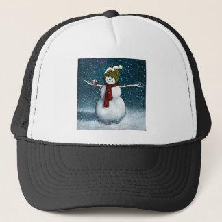 Boné Boneco de neve de sorriso na neve: Chickadee: Arte