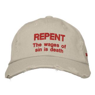 Boné Bordado Arrependa-se os salários do pecado é 6:23 dos