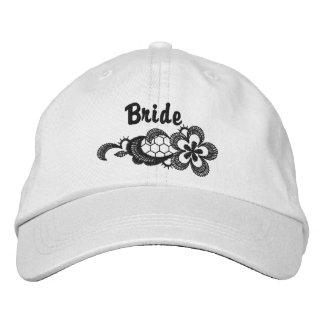 Boné Bordado Casamento preto do laço - chapéu da noiva