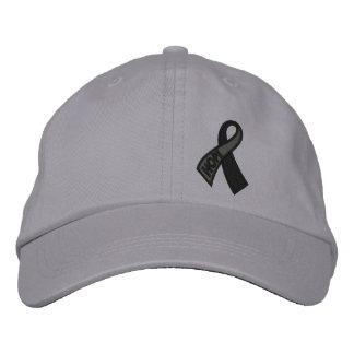 Boné Bordado Consciência preta da fita do cancer da esperança