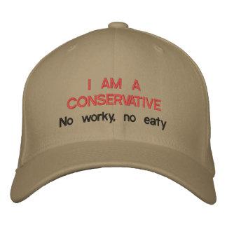 Boné Bordado Eu sou um conservador: Não worky, não eaty