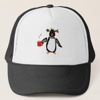 Boné Café engraçado do bebendo do pinguim