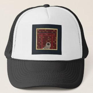 Boné Cão de Pekingese, arco asiático vermelho, sinal