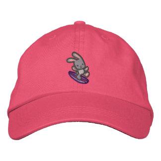 Boné Chapéu cor-de-rosa bordado coelho surfando da fita