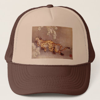 """Boné Chapéu do camionista na neve de Hokusai """"tigre"""""""