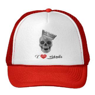 """Boné com rede / Trucker Cap - """" I love Skulls """""""