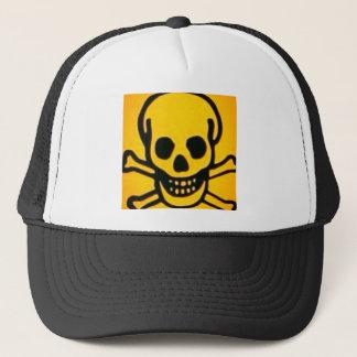 Boné crânio amarelo e ossos transversais