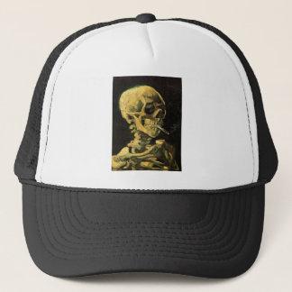 Boné Crânio de Van Gogh com cigarro ardente, arte do