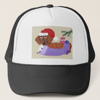 Boné Dachshund com meia do Natal