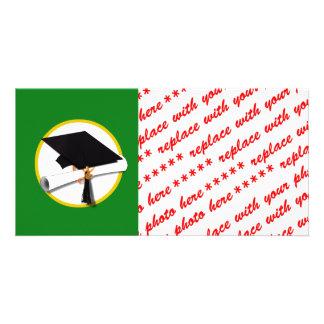 Boné de formatura w/Diploma - Fundo verde Cartoes Com Fotos Personalizados
