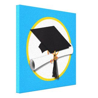 Boné de formatura w/Diploma - Luz - fundo azul Impressão De Canvas Envolvida