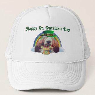 Boné Dia de Basset Hound St Patrick feliz do chapéu