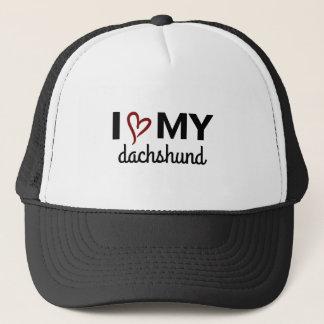 Boné Eu amo meu chapéu do Dachshund (o preto)