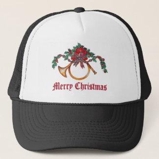 Boné Feliz Natal - chifre de bronze e azevinho e fita