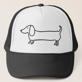 Boné Ilustração preta transparente do dachshund