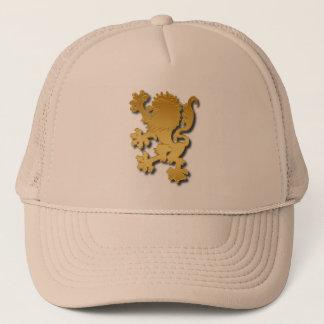 Boné Inclinação dourado leão heráldico gravado com