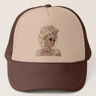 Boné Mulher loura bonita com chapéu bege