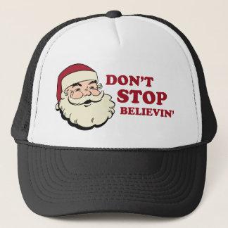 Boné Não pare o chapéu do camionista do papai noel de