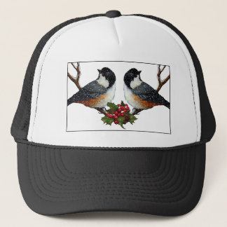Boné Natal: Pássaros: Casal macio do Chickadee